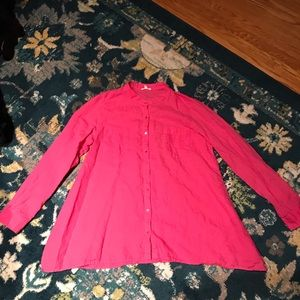Eileen Fisher organic irish linen top pink medium